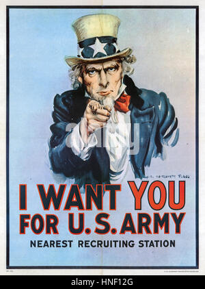 Je VEUX QUE VOUS POUR L'ARMÉE AMÉRICAINE 1917 affiche de recrutement américain conçu par James Montgomery Flagg Banque D'Images