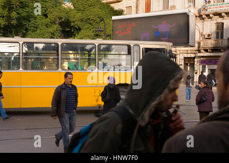 Tunisie: ville de Tunis. bus, à la place de barcelone Banque D'Images
