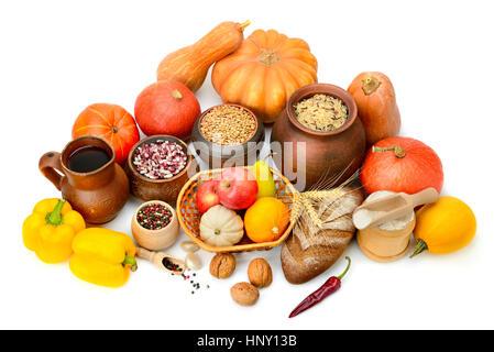 Collecte de denrées alimentaires blanc isolé Banque D'Images