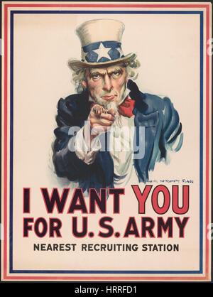 L'Oncle Sam pointant du doigt, 'Je veux que vous pour l'armée américaine', la Première Guerre mondiale affiche de Banque D'Images