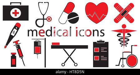 Ensemble d'icônes médicale isolée en vecteur de fond blanc. Banque D'Images