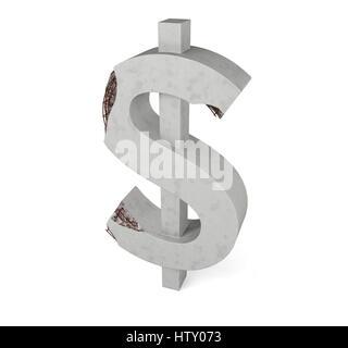 Béton fissuré signe dollar isolé sur fond blanc Banque D'Images