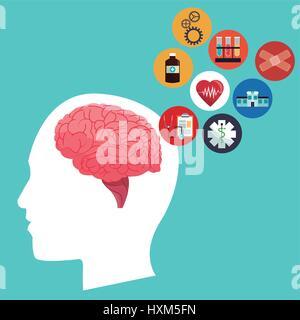 Tête humaine cerveau healthcare medical icons Banque D'Images