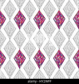 Ornement motif dessiné à la main. Remplages géométriques vecteur seamless background. Abstract colorful rhombus Banque D'Images