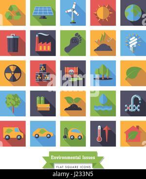 Collection de l'environnement et des changements relatifs square modèle plat long shadow vector icons Banque D'Images