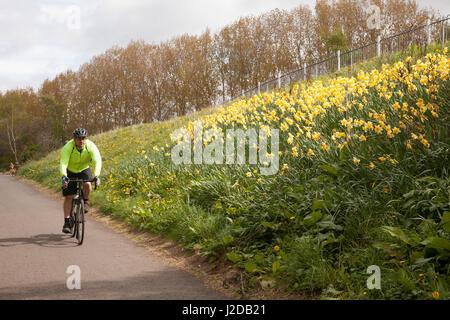 Dalry, Édimbourg, Royaume-Uni. Apr 27, 2017. Météo britannique. Young man riding bicycle in Edinburgh, Ecosse, Royaume Banque D'Images