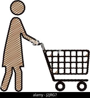 Dessin au crayon de couleur d'ossature de pictogramme femme avec panier Banque D'Images