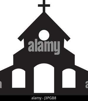 Vector illustration d'une icône de l'église isolé sur fond blanc Banque D'Images