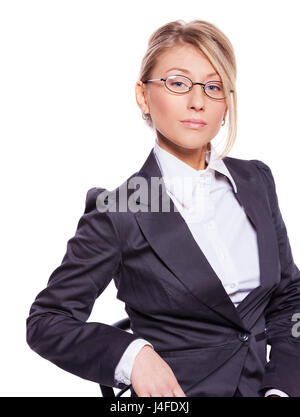 Portrait of Beautiful business woman isolated on white Banque D'Images