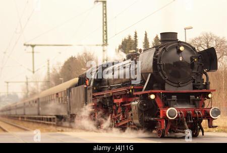 Vintage black train à vapeur Banque D'Images