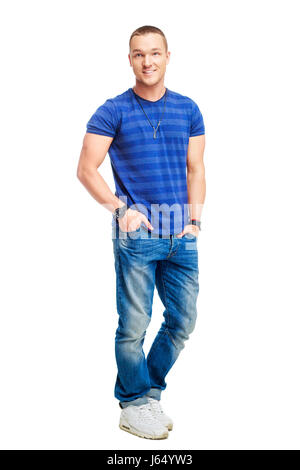 Portrait of a happy smiling young man isolated against white background Banque D'Images