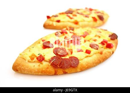 Aliment alimentaire fast-food pizza salami cuit surgelé restaurant food nutrition Banque D'Images