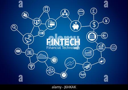 Fintech concept. Icônes de la technologie financière, Banque mondiale , devises , graphique , téléphone intelligent Banque D'Images