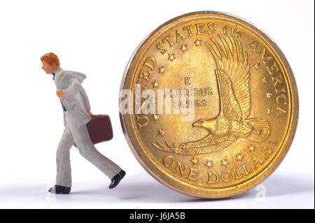 Banquier va disparaître à partir de la pièce de un dollar de la monnaie américaine Banque D'Images
