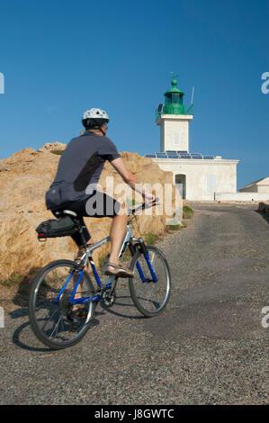 Corse, France-02 Octobre 2006: Randonnée à vélo, des vacances actives sur l'île de Corse Banque D'Images