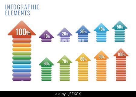 Éléments infographiques, pourcentage de progrès. Banque D'Images