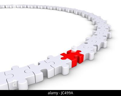 Pièces de puzzle connecté former un cercle mais l'un est de couleur différente Banque D'Images