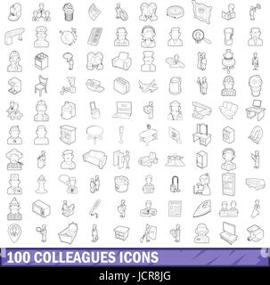 100 collègues icons set style du contour, Banque D'Images