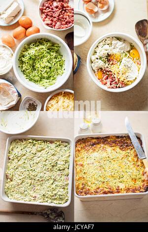 Frittata aux légumes courgette oignon pancetta recette étape par étape Banque D'Images