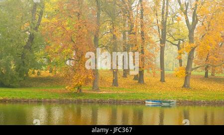 Forêt d'automne et le lac dans le coucher du soleil Banque D'Images