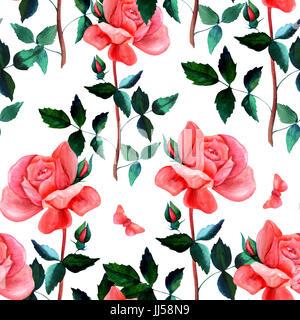 Modèle sans couture avec l'aquarelle rose rouge et papillon Banque D'Images