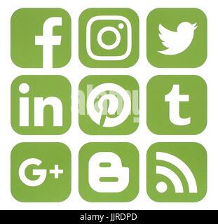 Kiev, Ukraine - le 24 janvier 2017: Collection d'icônes de médias sociaux populaires dans la verdure de la couleur, Banque D'Images