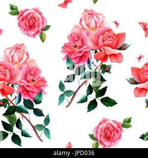 Motif de fond transparent avec dessins aquarellés de rouge et de rose rose fleurs et papillons, sur blanc, peintes Banque D'Images