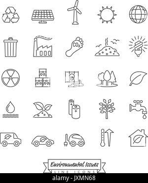 Collection de l'environnement et changements des icônes vectorielles décrites Banque D'Images