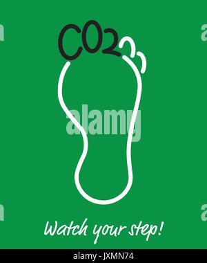 L'affiche de l'empreinte carbone, les doigts de pied en forme de lettres, CO2 Dioxyde de carbone à court terme pour Banque D'Images
