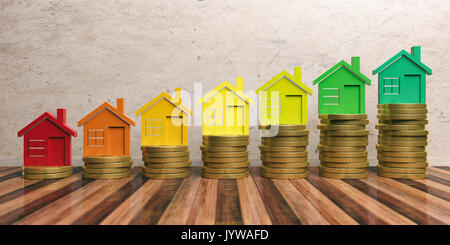 L'efficacité énergétique et économiser de l'argent concept dans la construction. 3d illustration Banque D'Images