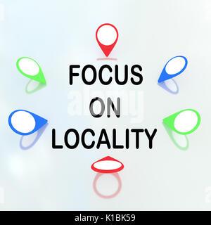 Rendre illustration de 'Focus sur environs' titre entouré de marqueurs d'emplacement. Localité - concept. Banque D'Images