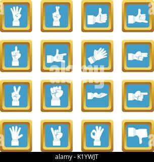Geste de la main d'icônes d'azur Banque D'Images
