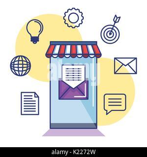 Application mobile pour le marketing par courriel d'informations Banque D'Images