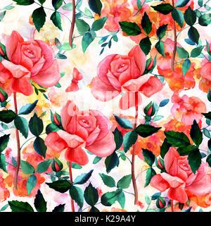 Modèle sans couture avec aquarelle roses rouges et papillons Banque D'Images