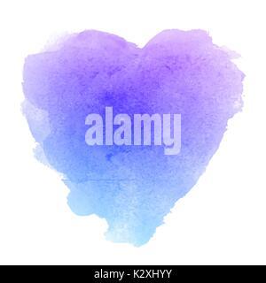 Bleu aquarelle texture papier dessiné à la main en forme de coeur isolé sur fond blanc pour la Saint-Valentin. Abstract Banque D'Images