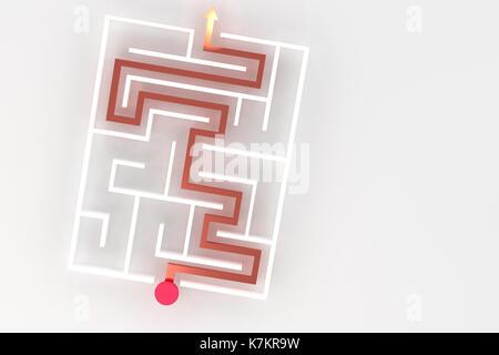 Le rendu 3D de labyrinthe avec flèche rouge blanc Banque D'Images