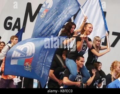 Moscou, Russie. Sep 19, 2017. Les jeunes participent à un défilé dans le cadre de jeux de Moscou 2017, le premier Banque D'Images