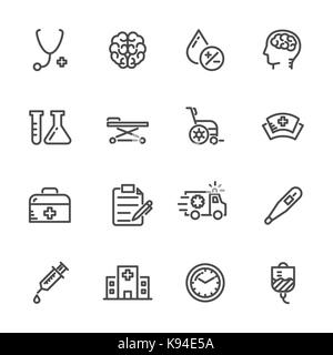 Kit médical, hospitalier et er vecteur icônes de ligne. Banque D'Images