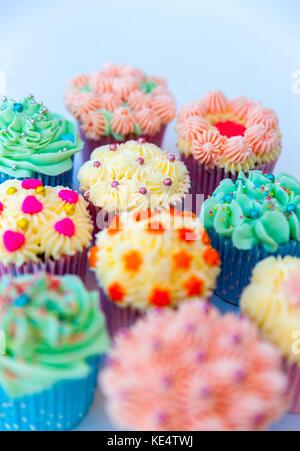 Cupcakes colorés, faits maison avec un fond blanc Banque D'Images