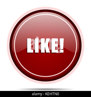 Comme l'icône web ronde rouge. Isolated bouton internet pour webdesign et applications smartphone. Banque D'Images