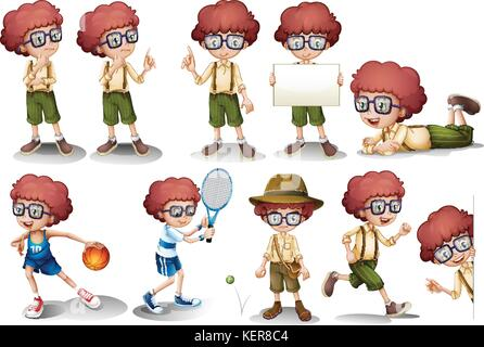 Illustration d'une tête rouge garçon en position différente Banque D'Images