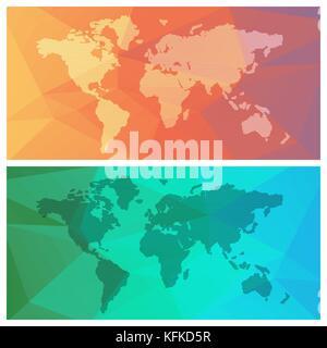 Jeu de carte du monde sur les bas fond coloré poly. vector illustration Banque D'Images
