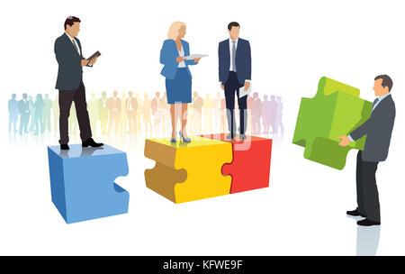 Prendre l'équipe. d'affaires sont debout sur Jigsaw Puzzle Banque D'Images
