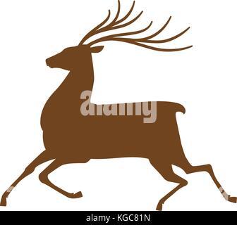 Running deer, l'icône ou symbole. renne, animal silhouette. vector illustration Banque D'Images