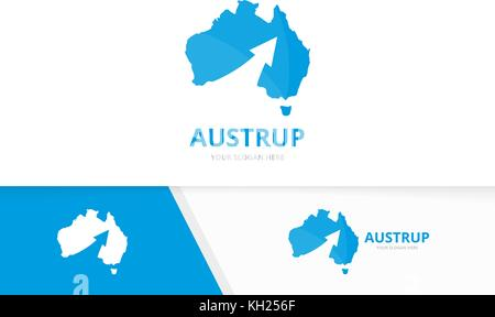 L'Australie et la flèche vecteur logo de combinaison. L'Océanie et de l'icône ou symbole de croissance et de continent Banque D'Images