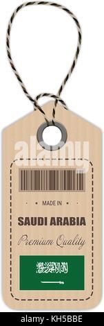 Hang tag faite en Arabie saoudite avec l'icône en forme de drapeau isolé sur un fond blanc. vector illustration. Banque D'Images
