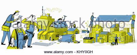 Raccord de travailleurs d'énergie verte pour les usines et entreprises Banque D'Images