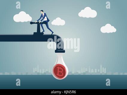 L'exploitation minière bitcoin comme concept vector illustration. business man la génération de crypto-service comme Banque D'Images
