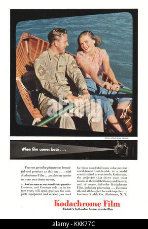 1945 Magazine américain film Kodachrome Kodak annonce Banque D'Images