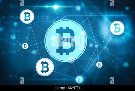 Réseau bitcoin illustration avec fond bleu foncé Banque D'Images